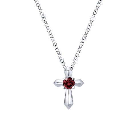 925 Silver Cross Necklace with Garnet (January)