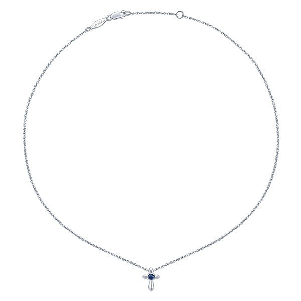 925 Silver Cross with  Blue Sapphire Necklace (Sept)