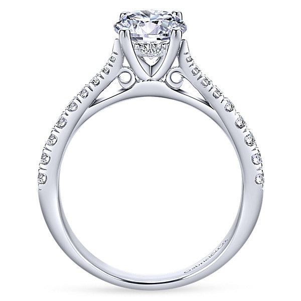 14k White Gold Round Straight (semi-mount)