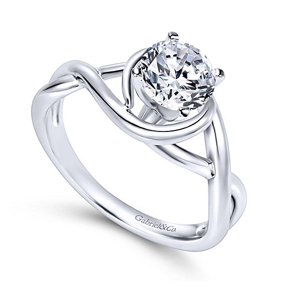 14k White Gold Round Twisted- (semi-mount)