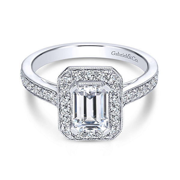 Vintage 14k White Gold Emerald Cut Halo -(semi-mount)