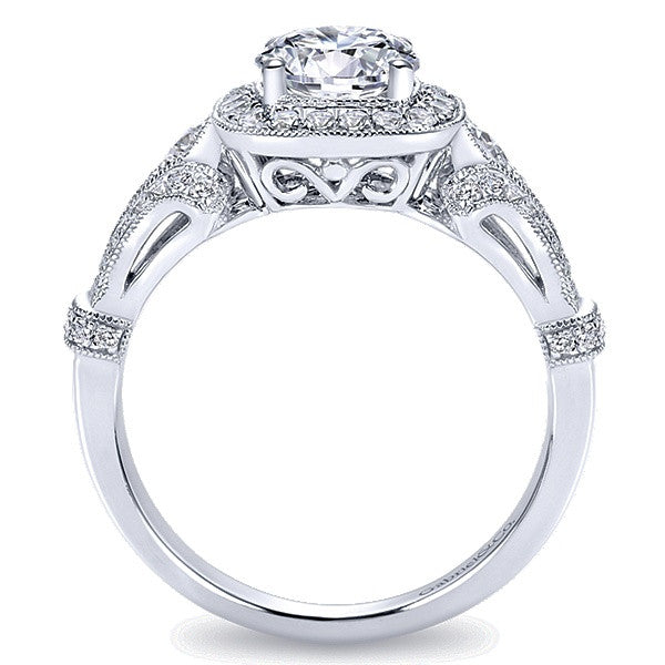 14K White Gold Round Halo Engagement Ring (Semi Mount)