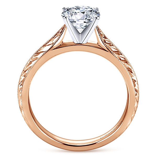 14k Rose Gold Round Straight (semi-mount)