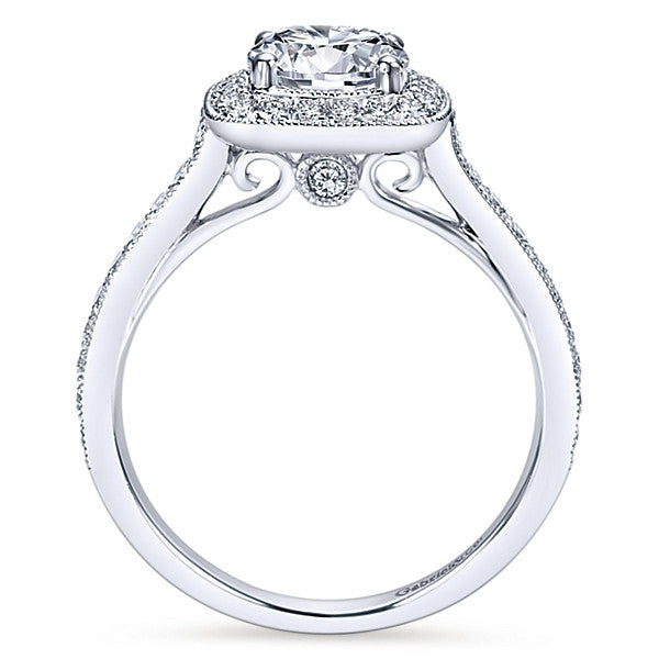 Copy of 14k White Gold Round Halo (semi-mount)