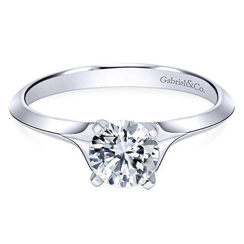 14k White Gold Round Solitaire (semi-mount)