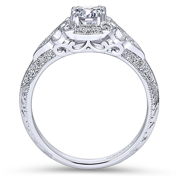 Vintage 14k White Gold Round Halo- (semi-mount)