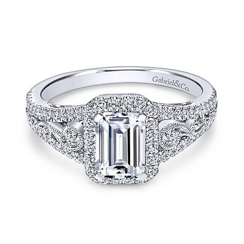 14k White Gold Emerald Cut Halo- (semi-mount)
