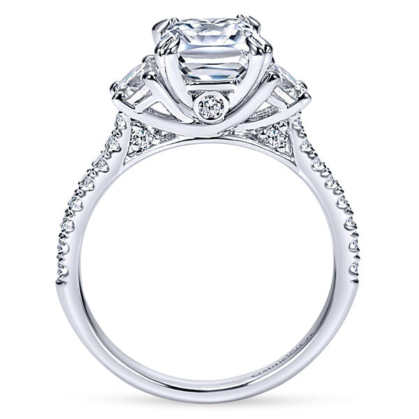 14k White Gold Cushion Cut 3 Stones (semi-mount)