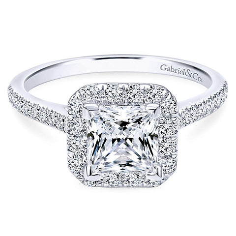 14K White Gold Princess Cut Halo- (semi-mount)
