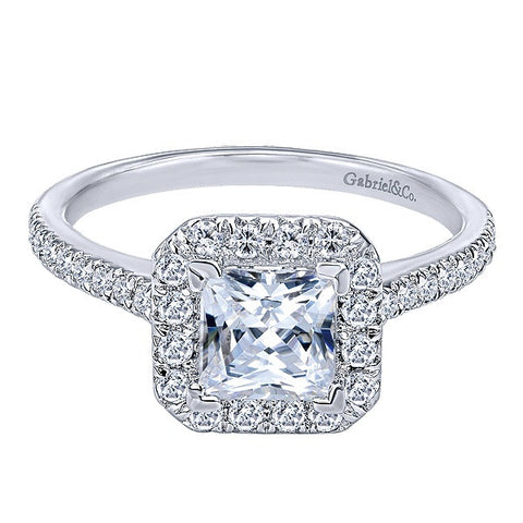 14K White Gold Princess Cut Engagement Ring (Semi Mount)