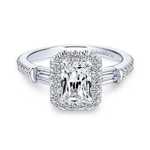 14k White Gold Emerald Cut 3 Stones Halo -(semi-mount)