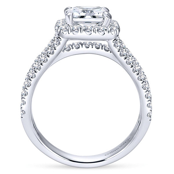 14k White Gold Cushion Cut Halo (semi-mount)