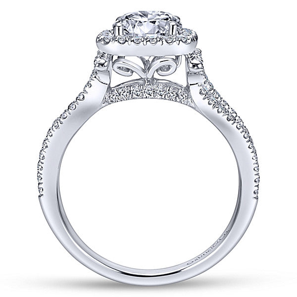 14k White Gold Round Halo (semi-mount)