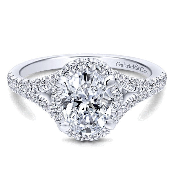 14K White Gold  Oval Diamond Halo Engagement Ring (Semi Mount)