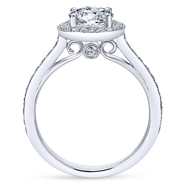 Vintage 14k White Gold Round Halo (semi-mount)