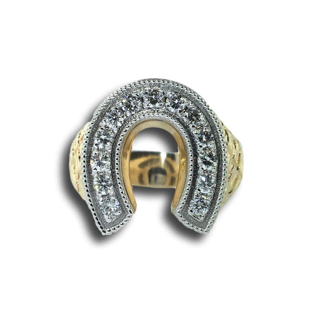 Men's Diamond Horseshoe Ring with Gator Print