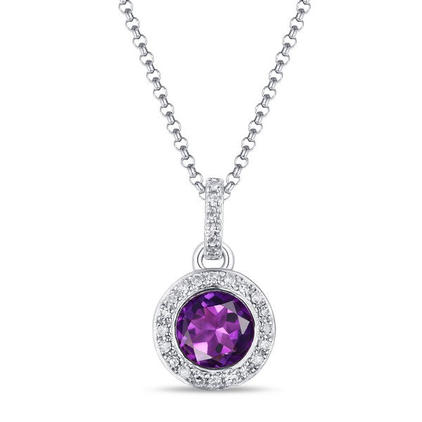 14K White Gold Ladies Amethyst Necklace