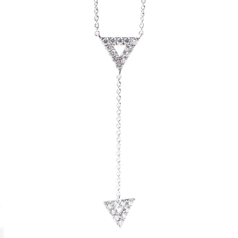 Triangle Diamond Station Lariat Necklace