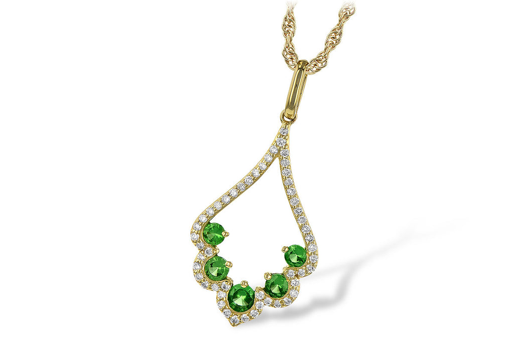 14K Yellow Gold Green Garnet Drop Pendant