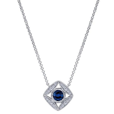 14k White Gold Diamond and Sapphire Ladies' Fashion Necklace