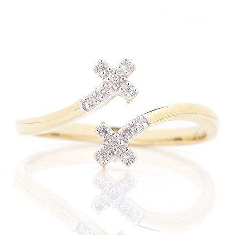 14K Yellow Gold Double Cross Fashion Ring