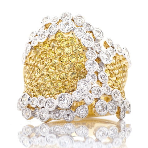 Ladies Fashion Ring with Diamonds and Yellow Sapphires