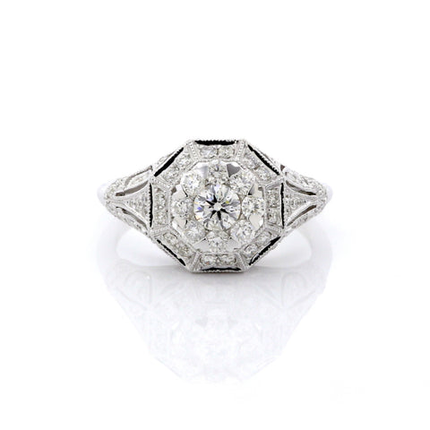 Diamond Antique Inspired Cluster Ring