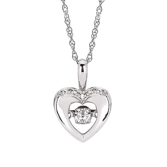925 Sterling Silver Dancing Diamond Heart Necklace