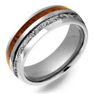 Tungsten Meteorite and Wood Inlay Gents Band