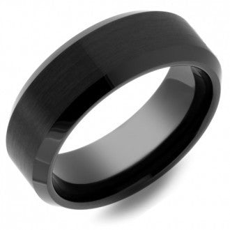 Black Tungsten Ring with Matte Center & Beveled Edges