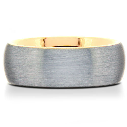 Brushed Tungsten Band with Gold