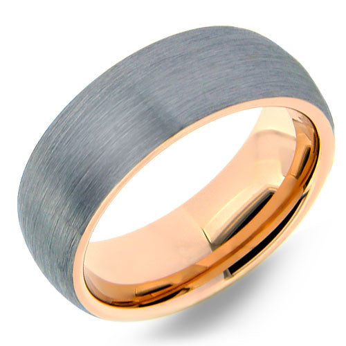 Brushed Tungsten Band with Rose Gold