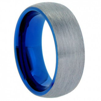 Brushed Tungsten Band with Royal Blue