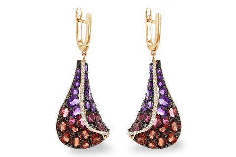 14K Rose Gold Ladies Semi-Precious and Diamond Fashion Earrings