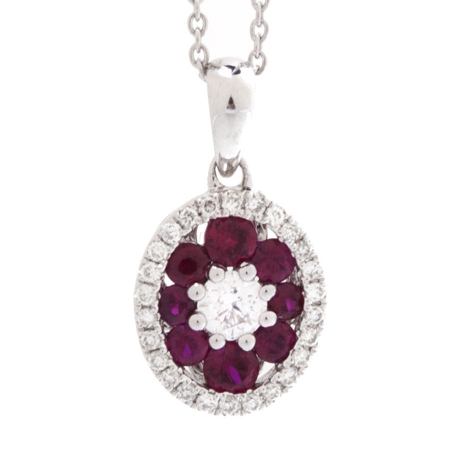 White Gold Oval Colorstone and Diamond Halo Pendent