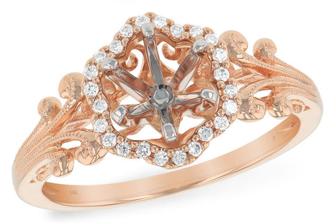 14K Ladies Rose Gold and Diamond Engagment Ring (semi mount)