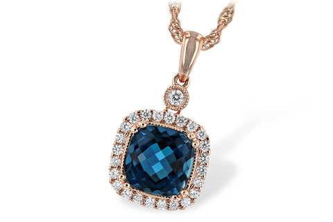 14K Ladies Rose Gold and London Blue Topaz Necklace