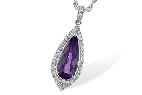 14K White Gold Amethyst and Diamond Ladies' Fashion Necklace