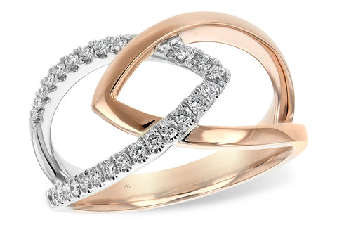14K Ladies Rose/White Gold and Diamond Fashion Ring