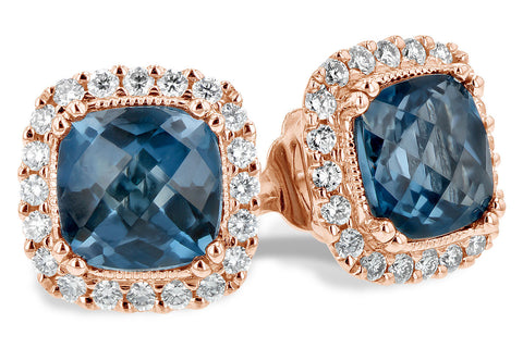 14k Rose Gold Diamond and London Blue Topaz Ladies' Earrings