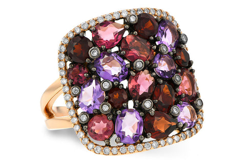 14k Rose Gold Semi Precious and Diamond Ladies Fashion Ring