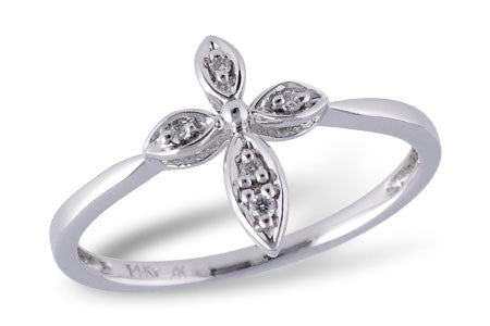 14k White Gold and Diamond Ladies' Fashion Cross Ring