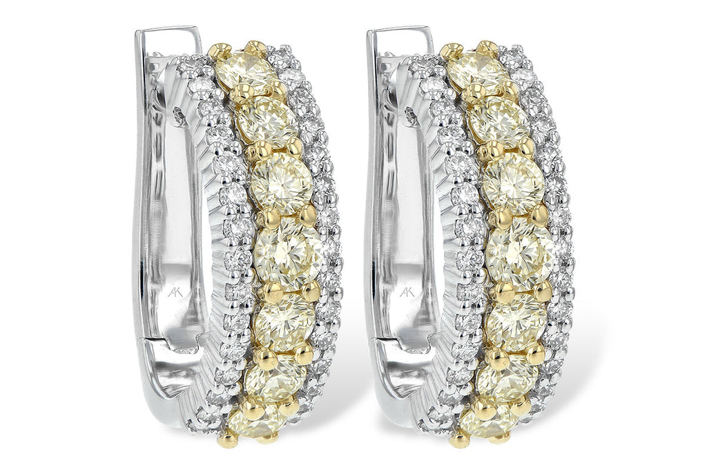 14K White Gold Earrings with Yellow Diamonds