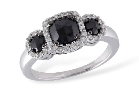 14k White Gold Black Diamond Ladies' Engagement Ring