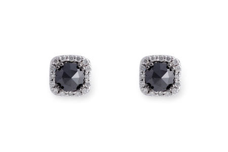 14k White Gold Black Diamond Earrings