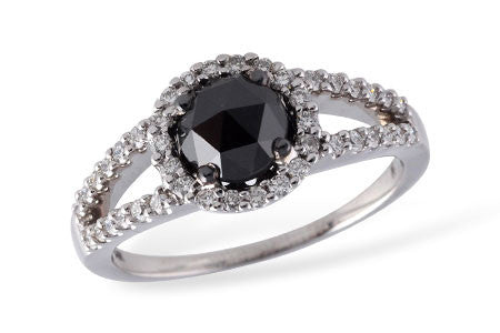 14k White Gold Black Diamond Ladies' Fashion Ring