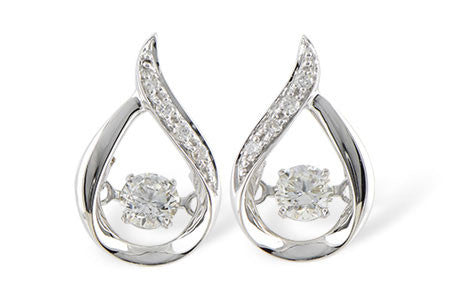 14k White Gold Diamond Ladies' Fashion Earings