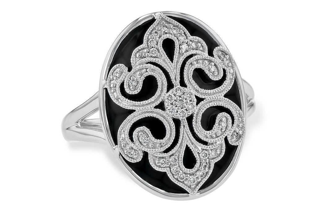 14k White Gold Oval Black Onyx and Diamond Ladies Fashion Ring
