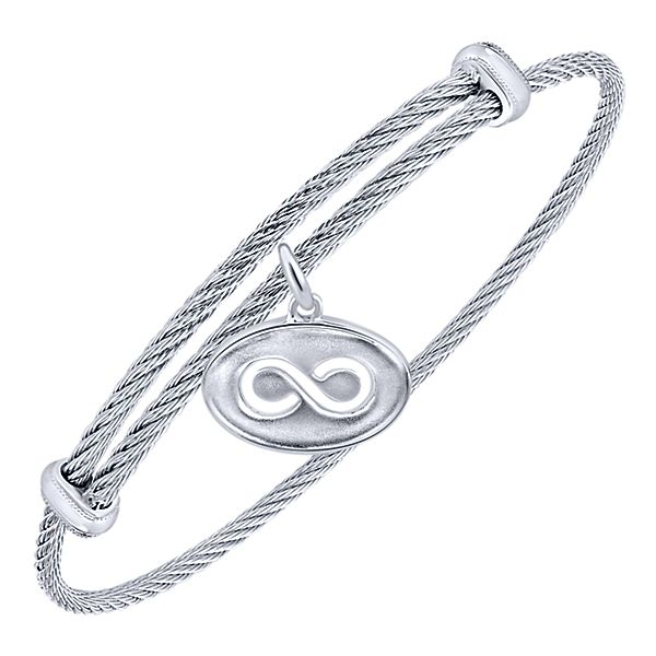 925 Silver/Stainless Steel Steel Infinity Bangle