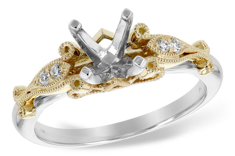 14K Two-Toned Semi-Mount Vintage Engagement Ring